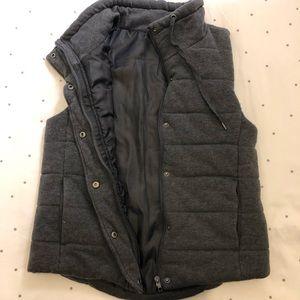 Grey Zip + Button Up Vest